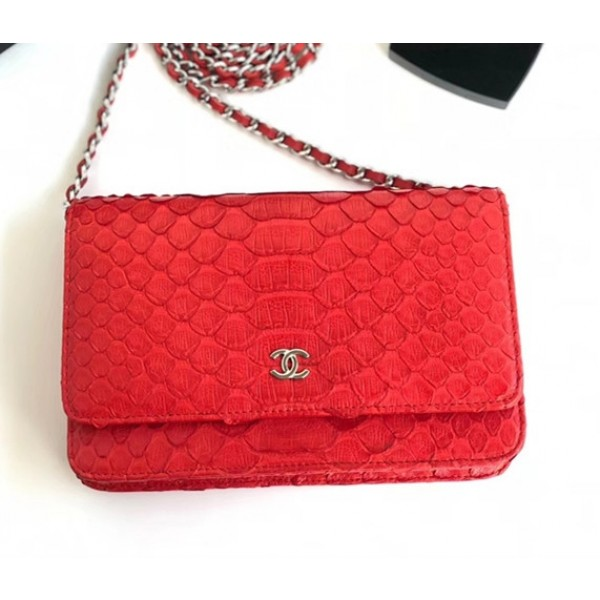 Chanel Python Leather Wallet On Chain WOC Flap Bag Red 2018
