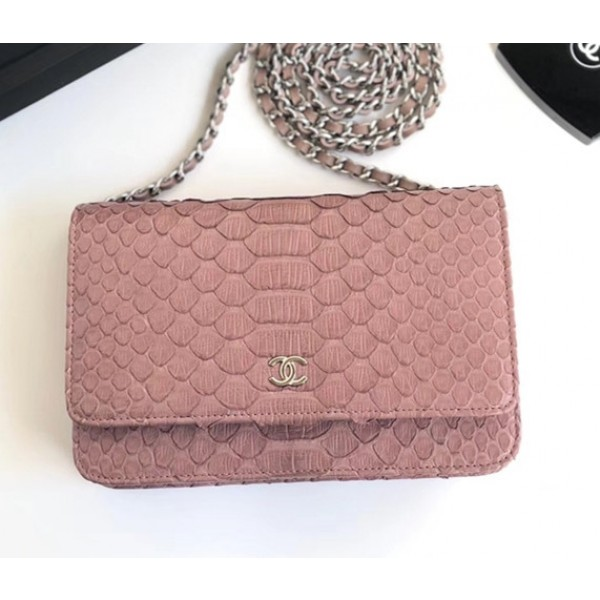 Chanel Python Leather Wallet On Chain WOC Flap Bag Pink 2018