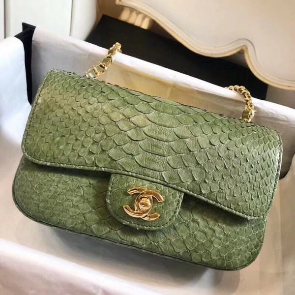 Chanel Python Classic Small Flap Bag Olive Green 2018 Collection