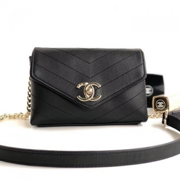Chanel Lambskin Chevron Belt Bag Black 2018 Collection