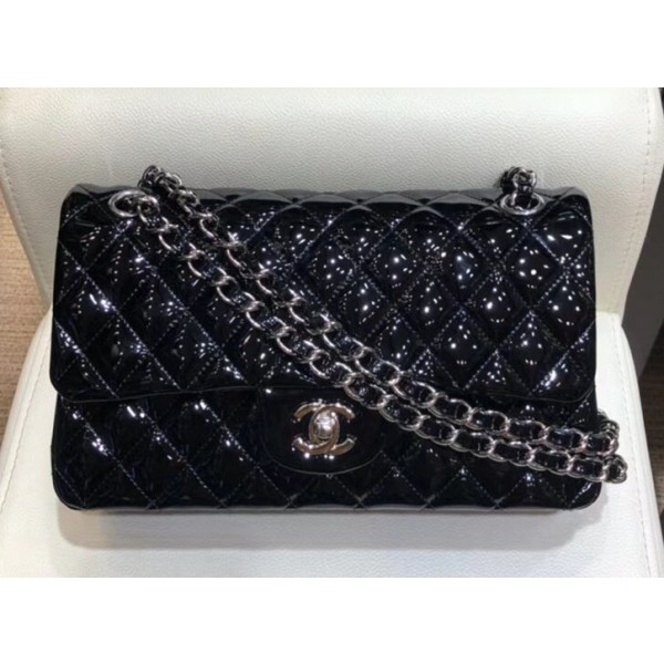 Chanel Classic Flap Medium Bag Black in Patent Leather with Silver Hardware