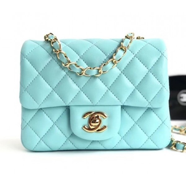 Chanel Lambskin Mini Classic Flap Bag A01115 Light Blue With Gold Hardware