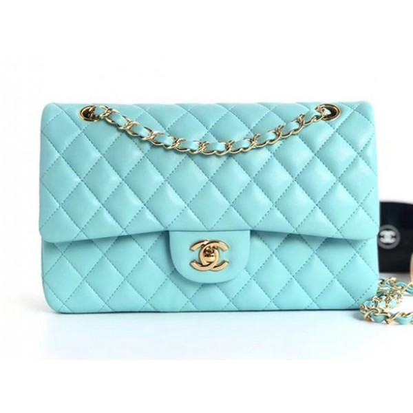 Chanel Lambskin Medium Classic Flap Bag A01112 Light Blue With Gold Hardware