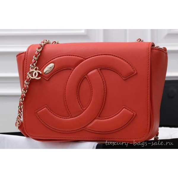 Chanel Lambskin CC Logo Flap Bag AS0321 Red 2019