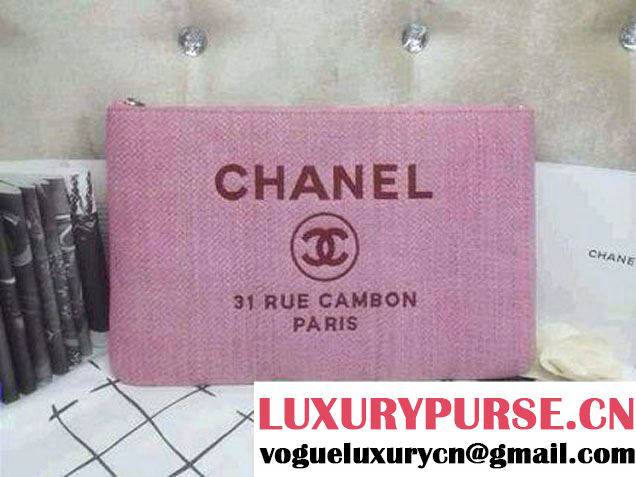 Chanel Deauville Canvas Clutch Bag in Pink 2014
