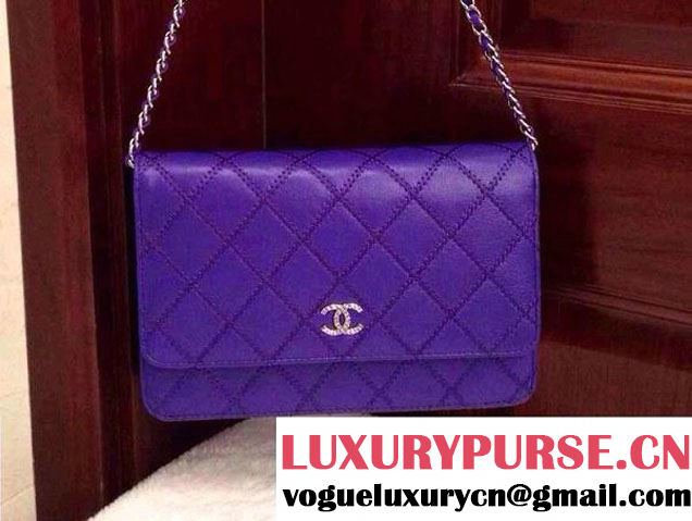 Chanel Large Stitch Wallet On Chain (WOC) Bag in Blue 2014