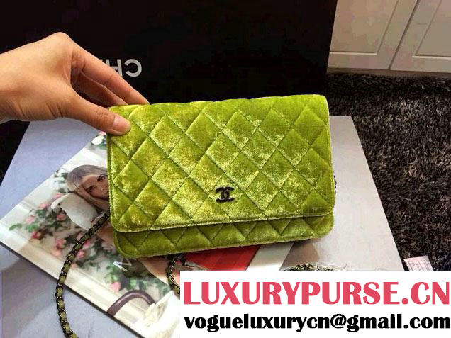 Chanel Velvet WOC Wallet On Chain Bag A33814 Y09134 Green 2014