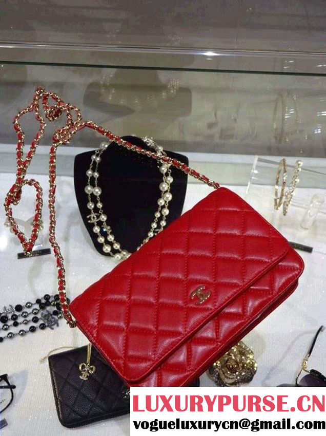 Chanel Wallet On Chain WOC Bag A33814 in Lambskin Leather Red with Golden Hardware