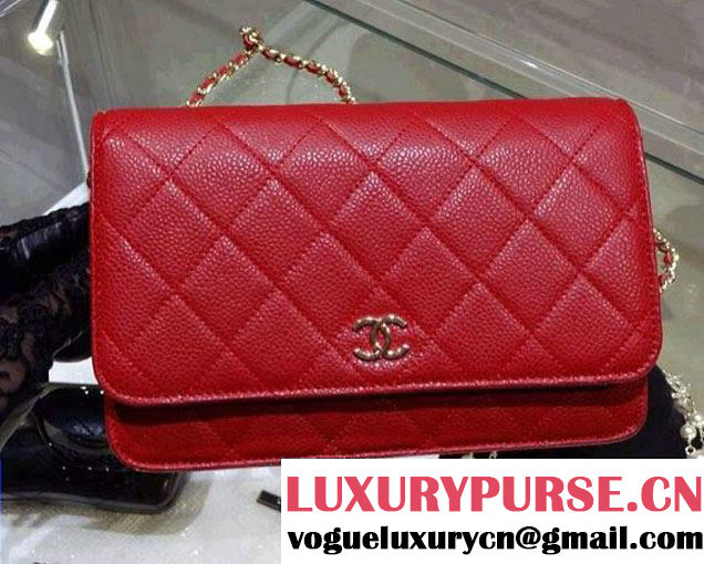Chanel Wallet On Chain WOC Bag A33814 in Caviar Leather Red with Golden Hardware