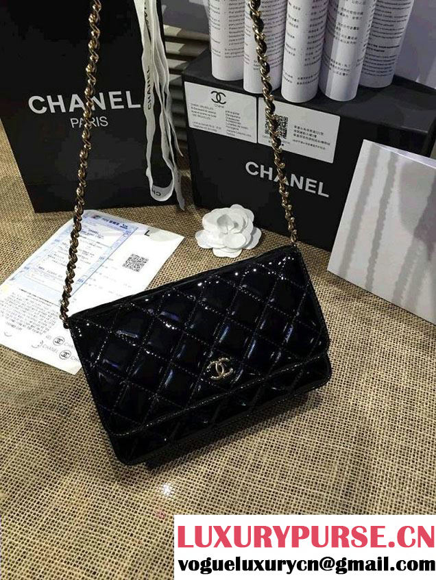 Chanel Wallet On Chain WOC Bag A33814 in Patent Leather Black/Gold