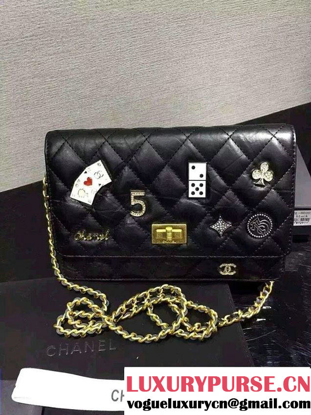 Chanel Lucky Charms Casino Badges Reissue Wallet On Chain WOC Bag Black 2016