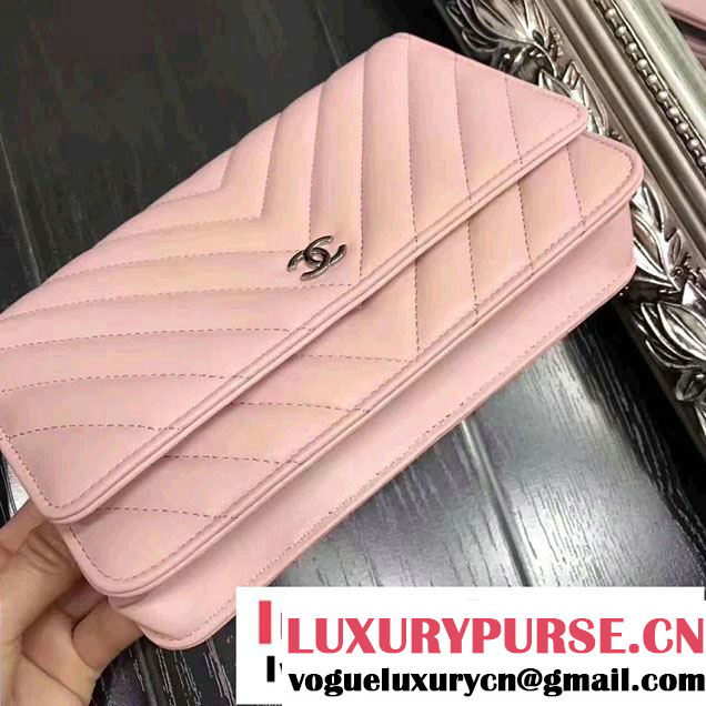 Chanel Chevron Wallet On Chain WOC Bag Pink/Sliver