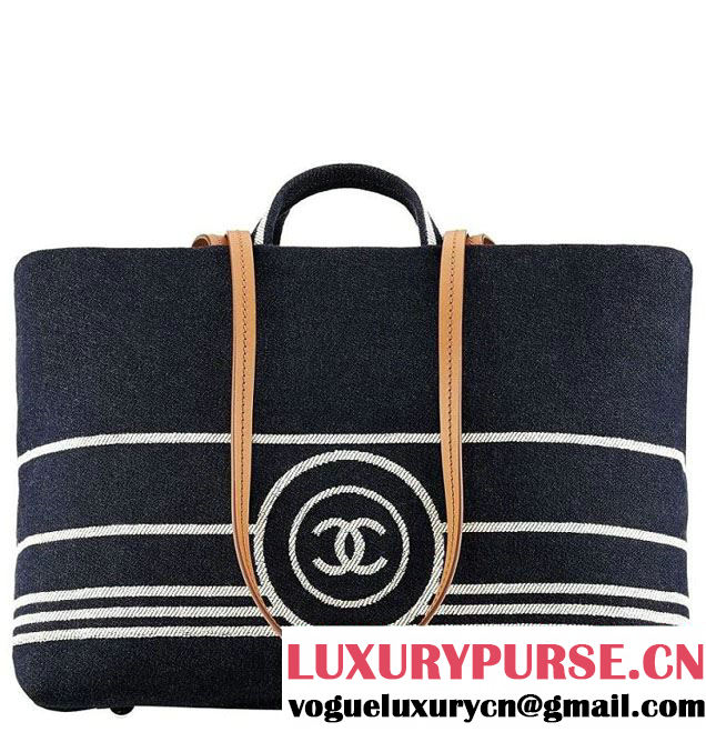 Chanel Denim Tote with leather strap 2014