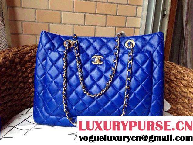 Chanel New Lambskin Leather Shopping Tote Bag in Cobalt Blue 2014