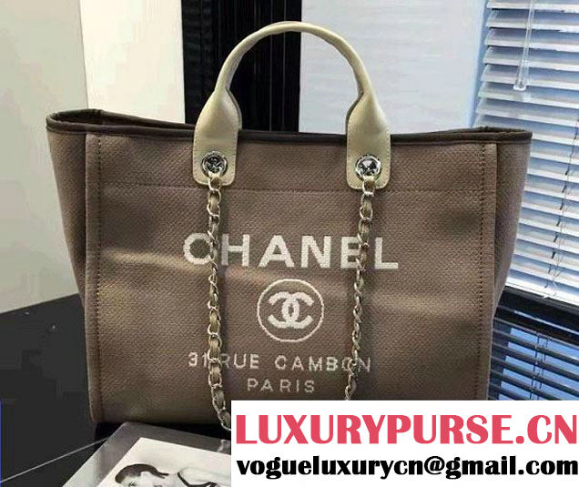 Chanel Deauville Canvas Tote Medium Bag Coffee