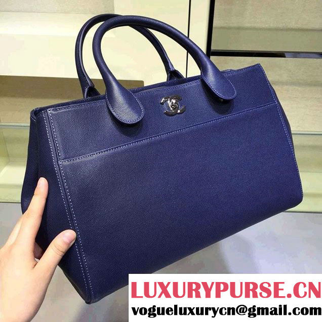 Chanel Grained Calfskin Shopping Bag Royal Blue with Shoulder Strap A93126 2015/2016