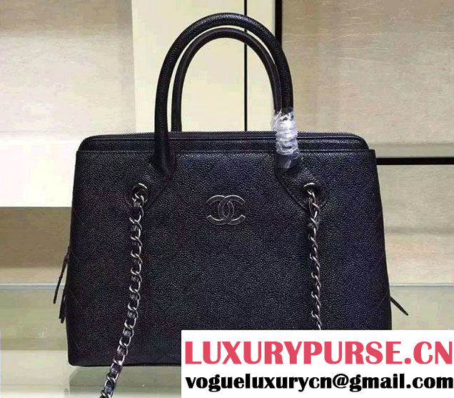 Chanel Grained Vegetal Calfskin Shopping Small Bag A94850 Black 2015/2016
