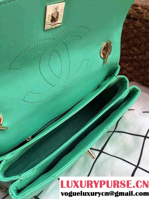Chanel Lambskin Trendy CC Dual Handle Flap Tote Bag Turquoise