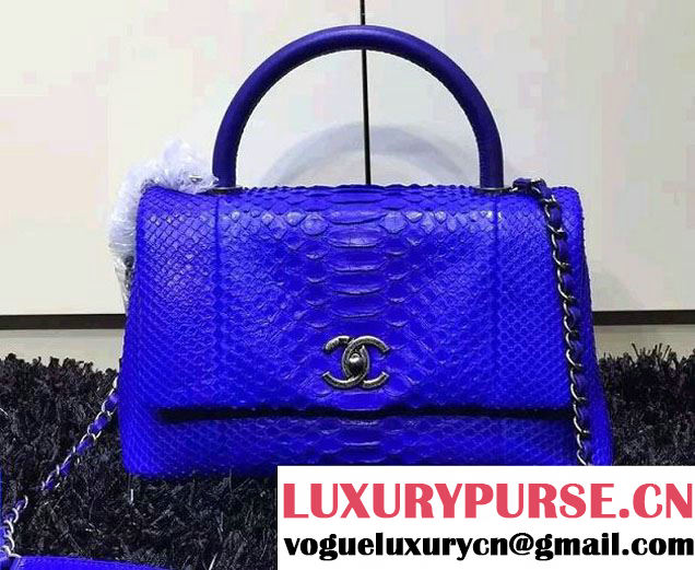 Chanel Python and Lambskin Flap Large Bag with Handle A93279 Blue 2016