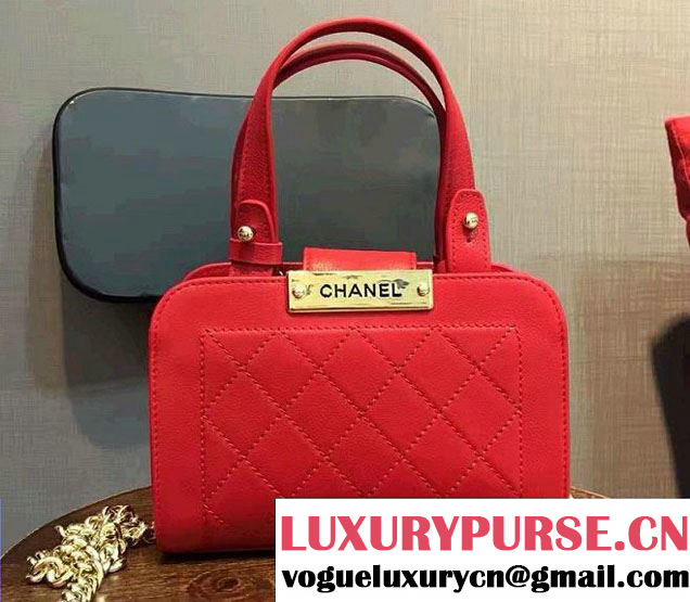 Chanel Label Click Small Shopping Bag A93731 Red 2017