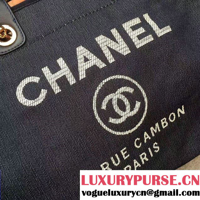 Chanel Deauville Canvas Tote Medium Bag Black