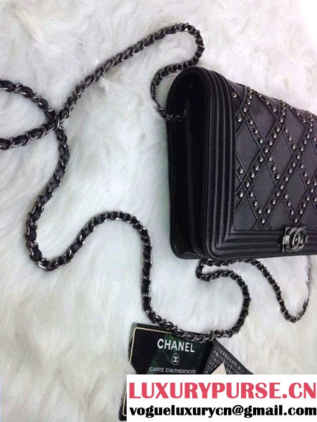Chanel Boy Studded Wallet On Chain (WOC) Bag 2014