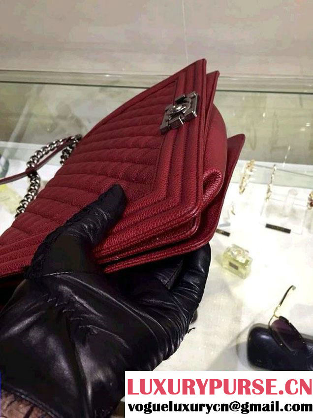 Chanel Large Quilted Boy Flap Bag in Caviar Leather Burgundy with Silver Hardware
