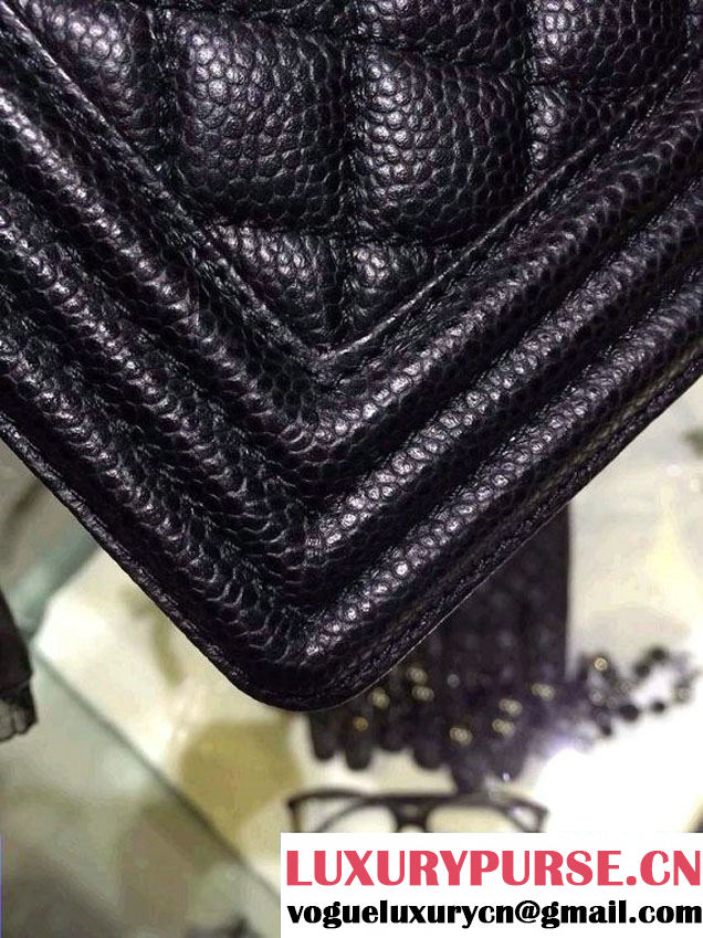 Chanel Medium Boy Flap Shoulder Bag A67086 in Caviar Leather Black with Golden Hardware