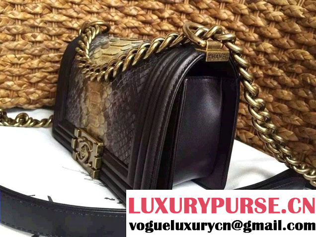 Chanel Le Boy Flap Small Bag in Python Leather 2015
