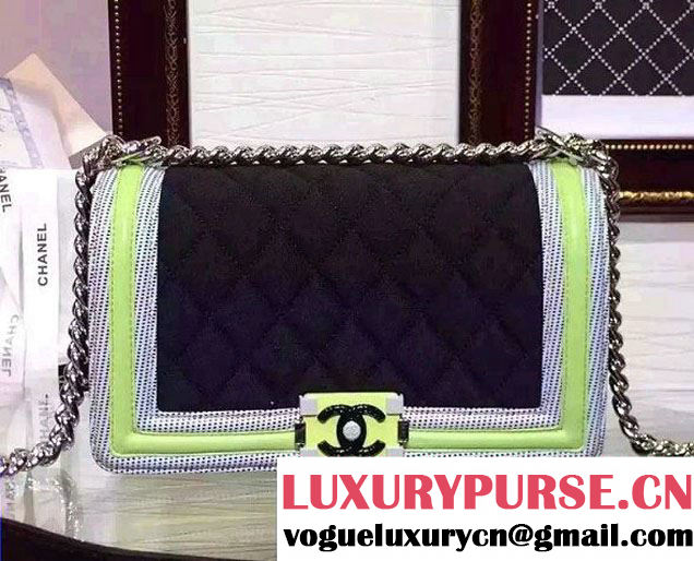Chanel Quilted Boy Flap Medium Bag Black/Green/Gray 2015/2016