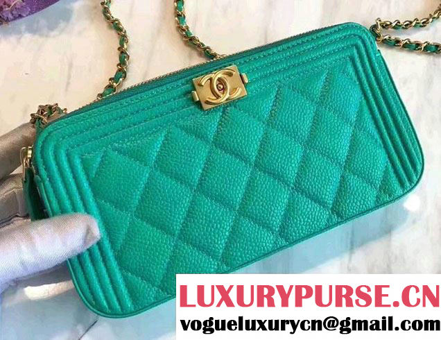 Chanel Grained Calfskin Boy Double Zipped Small Clutch Chain Phone Holder Bag A84069 Turquoise 2017