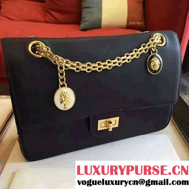 Chanel Dark Blue Calfskin & Canvas & Medals 2.55 Flap Bag A37586 2016 (Gold Hardware) (KN-6082206 )