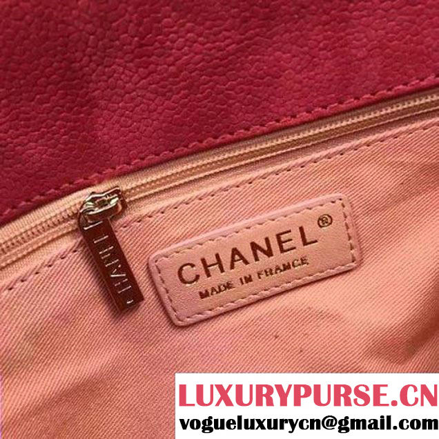 Chanel Grained Calfskin Medium Flap Bag with Top Handle Fuchsia Cruise 2017 (Chanel-7010402 )