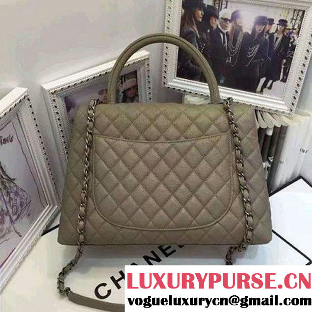 Chanel A93279 Large Grained Flap Bag With Handle Apricot 2016 (AV-7020807 )