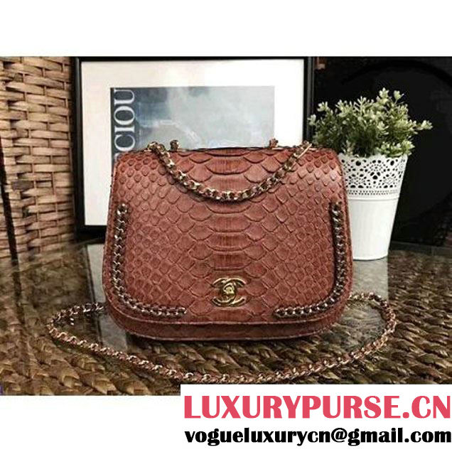 Chanel Python Leather Chain Braided Chic Flap Bag A98774 Camel 2017 (1A111-7041105 )