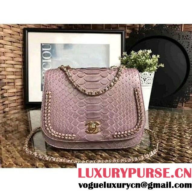 Chanel Python Leather Chain Braided Chic Medium Flap Bag A98774 Light Pink 2017 (1A111-7041108 )