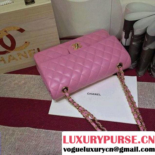 Chanel Lambskin Leather Classic Double Flap Bag In Pink (1a022-4008 )