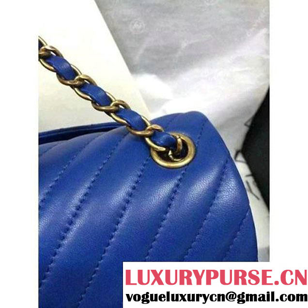 Chanel Blue Lambskin Small Chevron Quilting Classic Flap Bag SS 2015 (2a136-041506 )