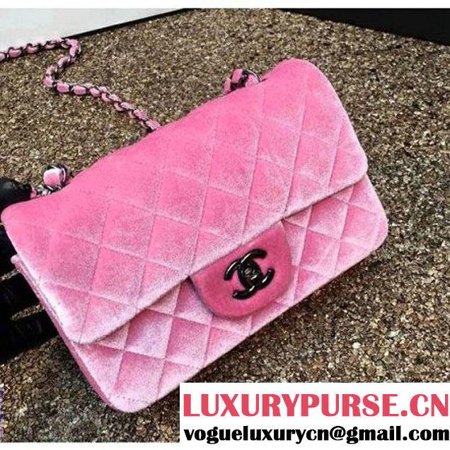 Chanel Velvet Classic Small A1116 Flap Bag Pink (Black Hardware) (MC-112069 )