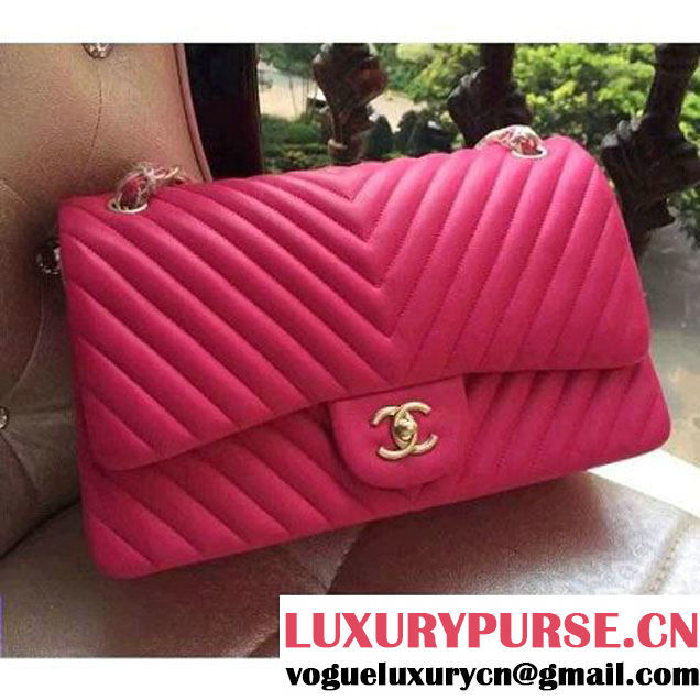Chanel 1113 Lambskin Chevron Quilting Classic Jumbo Flap Bag Rosy 2015 (H-010737 )