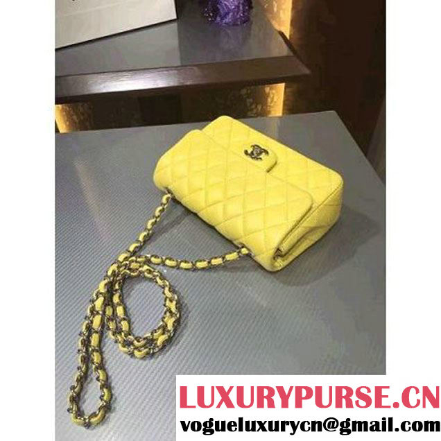 Chanel 1116 Mini Rectangular Lambskin Classic Flap Bag Rosy Yellow (Silver Hardware) (MC-6082927 )