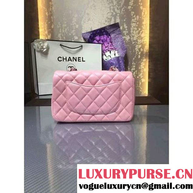 Chanel 1116 Mini Rectangular Lambskin Classic Flap Bag & Pearl Hardware Pink (MC-6082930 )