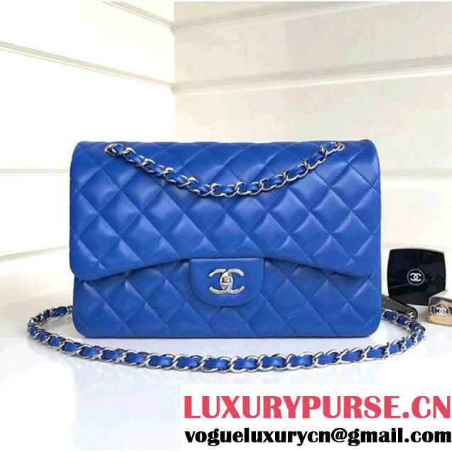 Chanel Jumbo Lambskin Classic Double Flap Bag Bright Blue A1113 (SHW) (1a086-7112954 )