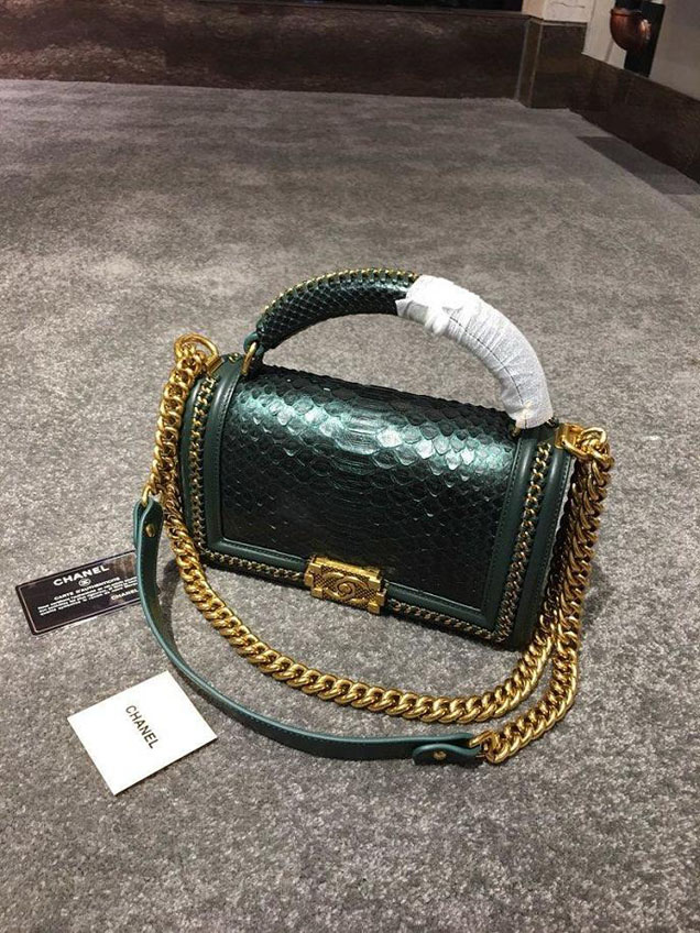 Chanel Chain Handle Bag 25cm Python Skin Leather Antique Gold Hardware Fall Winter Act 2 Collection Emerald Green