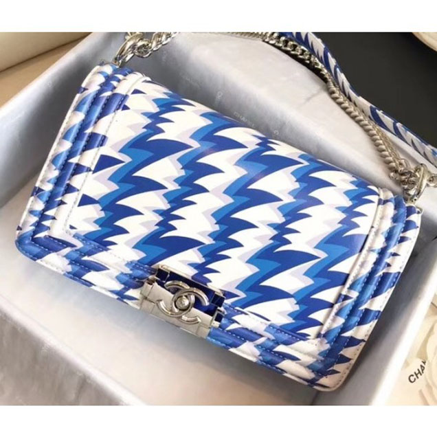 Chanel Lambskin Printing and Dyeing Boy Flap Medium Bag White/Blue 2018
