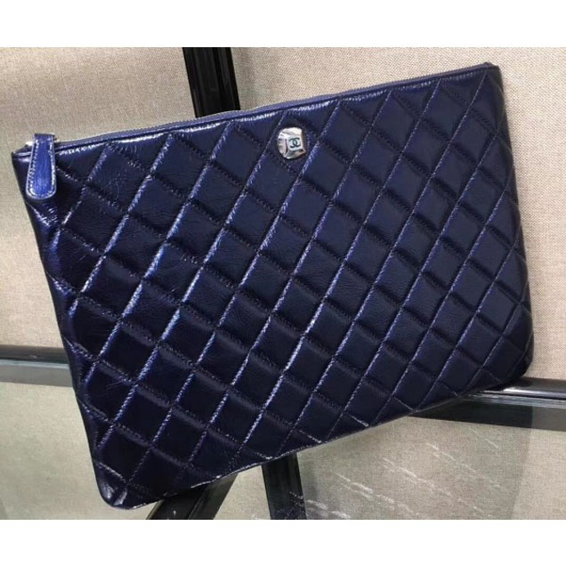 Chanel Metallic Aged Lambskin Large Pouch Clutch Bag Blue 2018