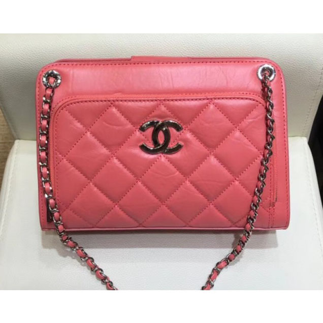 Chanel Aged Calfskin Bowling Shoulder Small Bag A57821 Dark Pink 2018