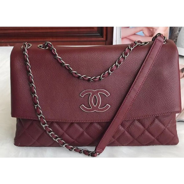 Chanel Deer Pattern CC Flap Bag 7095 Burgundy