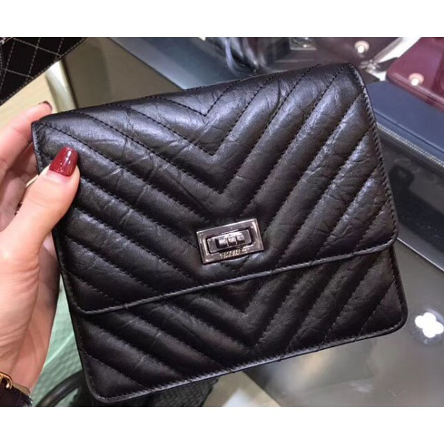 Chanel Chevron Reissue Classic Wallet On Chain WOC Bag A84310 Black