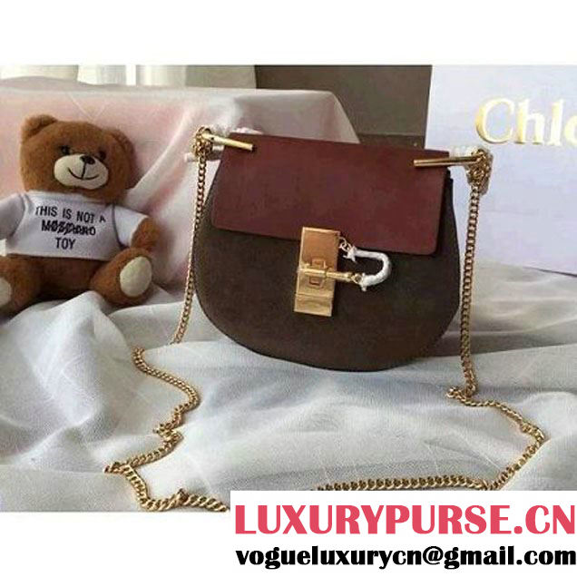 Chloe Drew Bag In Burgundy/Chocolate Suede/Smooth Calfskin (2A118-102216 )
